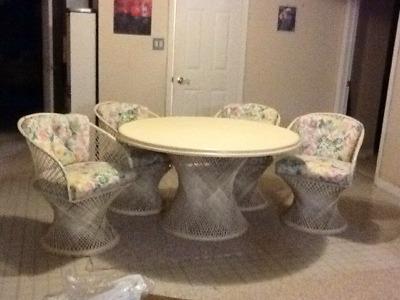 $100 white wicker dining set