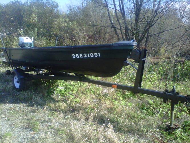 16' Leavens fiberglass boat and trailer