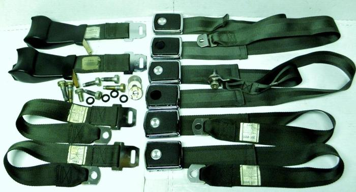 1969 70 71 68 Ford Mustang Cougar Deluxe Dark Green Seat Belts FoMoCo