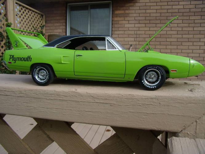 1970 superbird, 69 camaro z28, 67 chevelle built model cars