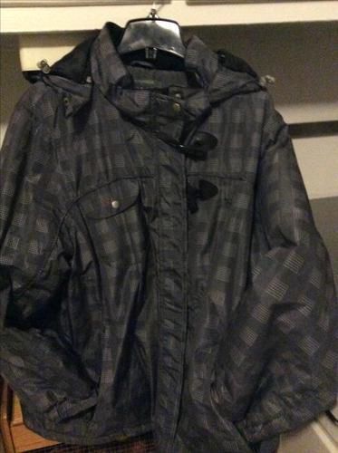 3X Grey/Black Heavy Winter Coat