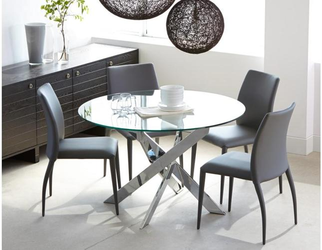 4 new gray leather dining chairs (Price: 110 per chair)