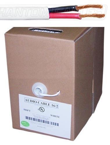 500ft 2C 16AWG In-Wall Bulk Speaker Wire CMR/FT4 - White