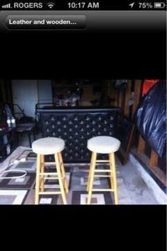 $70 Leather and wooden bar with two stools