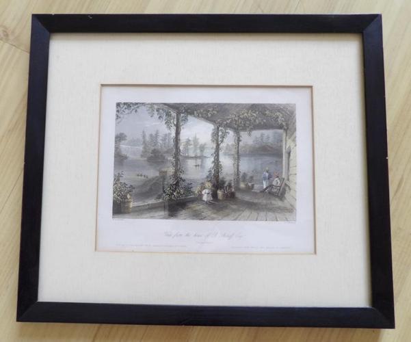 Antique Hand Tinted  W H Bartlett Framed Print Ottawa River