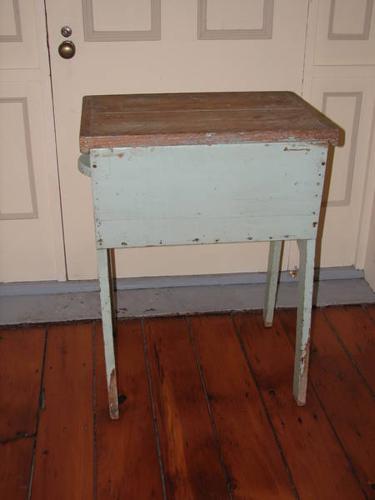 Antique Vintage Dough Box With Legs / Stand Original Green Paint