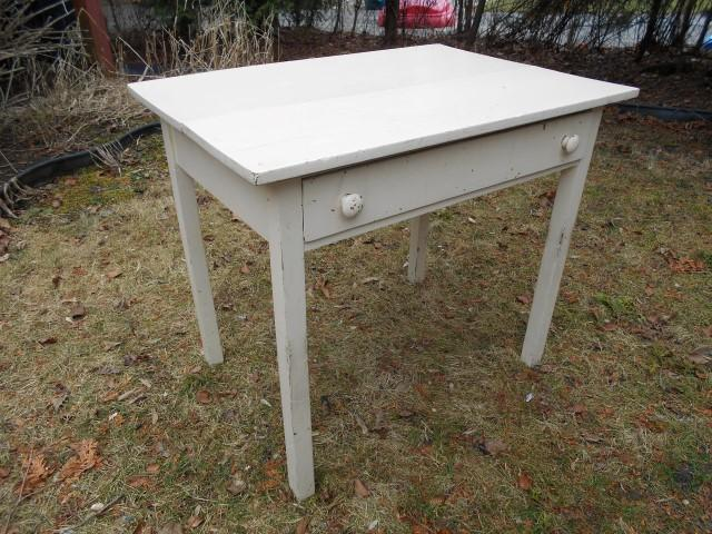ANTIQUE VINTAGE RUSTIC PRIMITIVE SHABBY CHIC DESK TABLE WITH DRAWER