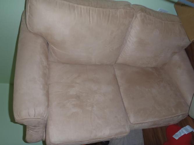 Beige micro-Suede  love seat $300 OBO