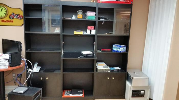 Black 3 Section Wall Unit
