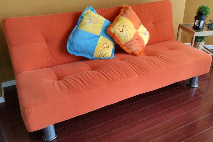 Bright Orange Klik-Klak Futon & Coffee Table
