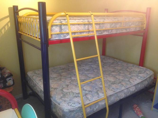 Bunk Bed Set, armoire, desk, side table, and mattresses