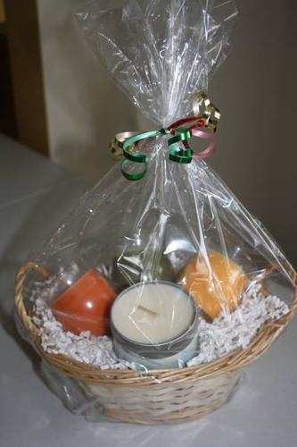 Christmas gift baskets with candles
