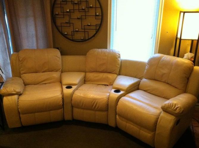 Cisco 5 Piece Cream Genuine Leather Seating Home Theatre