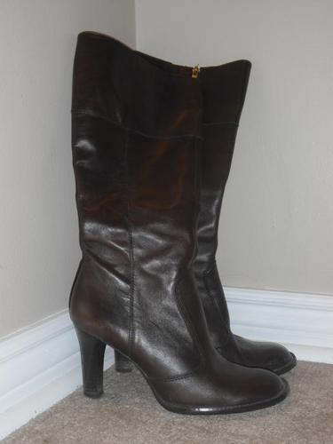 Dark brown leather boots, size 8.5-9