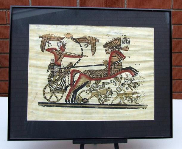 "Decorative Egyptian Pharaonic Papyrus Painting- Chariot   16"" x 20"""
