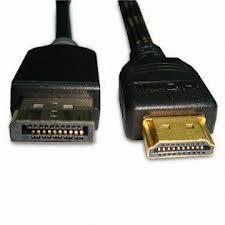 Displayport(M) to HDMI(M) Cable (6.5ft or 10ft) 1080P and Audio