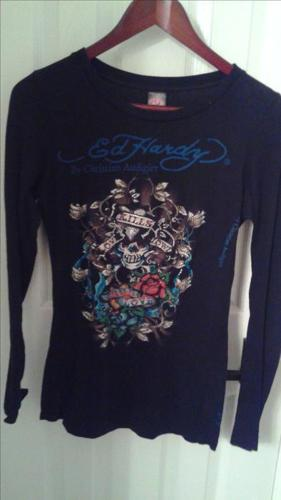 ED HARDY Christian Audigier Rhinestone Love Kills Sowly long sleeve shirt
