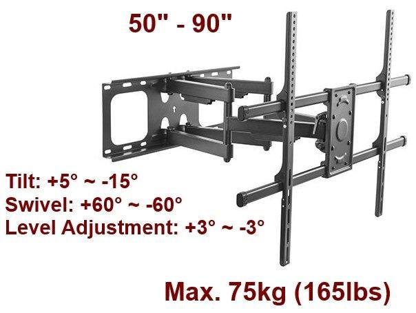 "Full-Motion TV Wall Mount - For 50""-90"" Televisions"