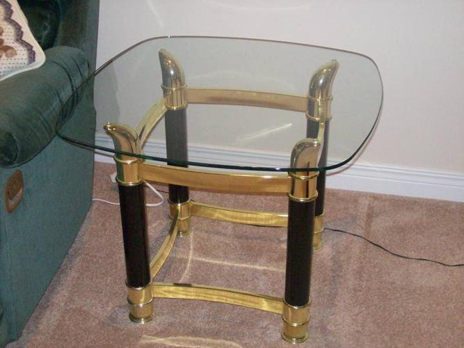 Glass Top Coffee Tables, black and brass finish
