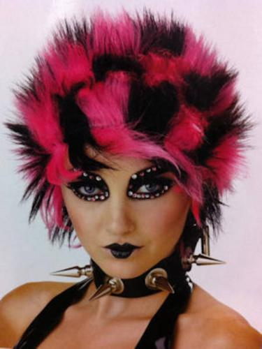 Gothic Punk Spike Wig Black & Purple Pink or Red NEW