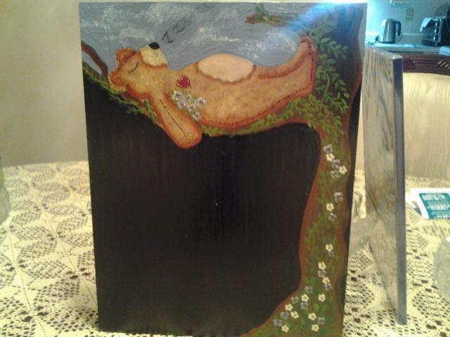 Hand Painted Teddy Bear Black board