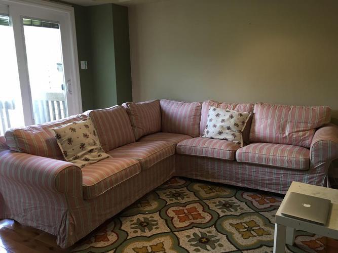 IKEA Corner Sofa 2+2, beige, red. $650