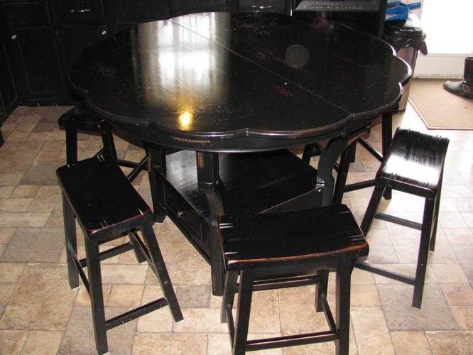 Kitchen Pub Table Set Distressed Black