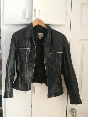 Ladies Faux Black Leather Jacket (M)