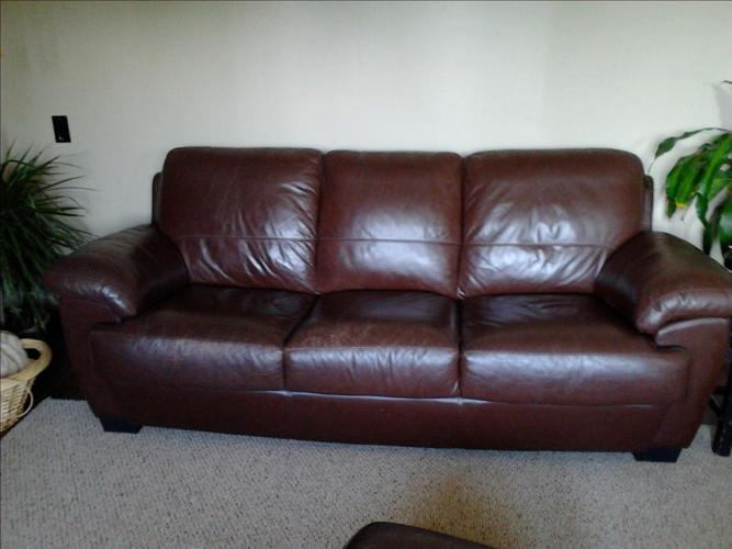 Leather couch, chair , ottoman