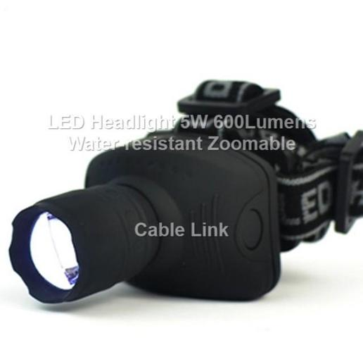 LED Headlight 600 Lumens 5W Zoomable Water Resistant 90 degree