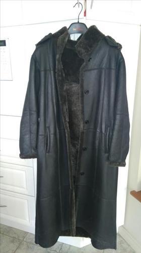 Long black shearling coat