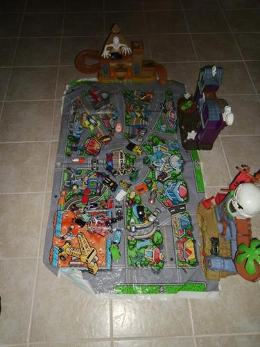 Match Box Garages with mat and 10 Cars