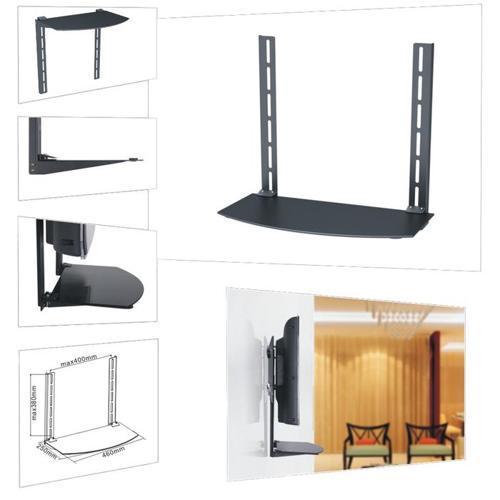 Media Player TV/Bracket Mount Shelf, Glass - Black