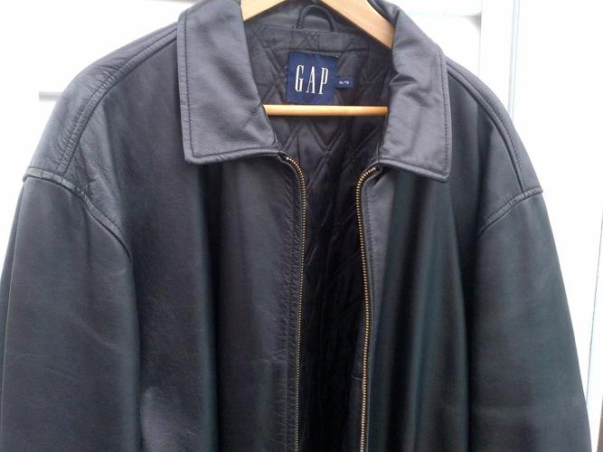 MENS EXTRA LARGE BLACK 100% LEATHER GAP BOMBER JACKET COAT