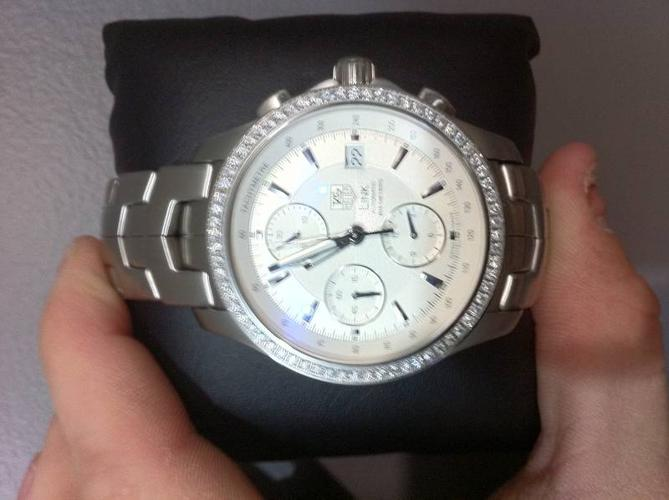 Men's Tag Heuer Links Watch with Diamond Bezel and SIlver Face