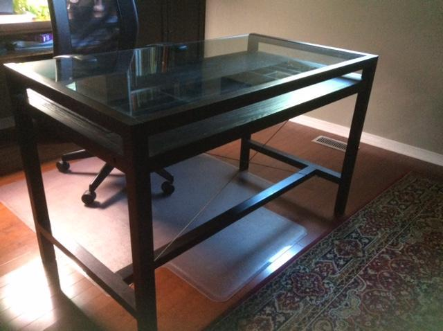 Modern Glass and wood desk with chair