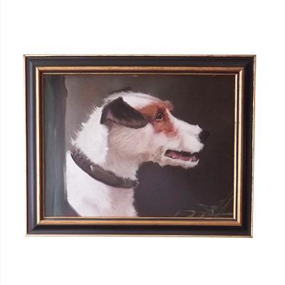 Oil on board portrait of a terrier