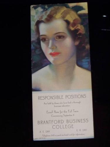 old INK BLOTTER ad BRANTFORD BUSINESS COLLEGE ink blot