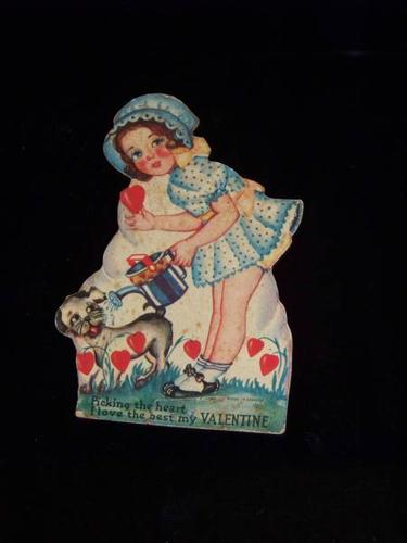 old VALENTINE CARD early GIRL with PUPPY DOG