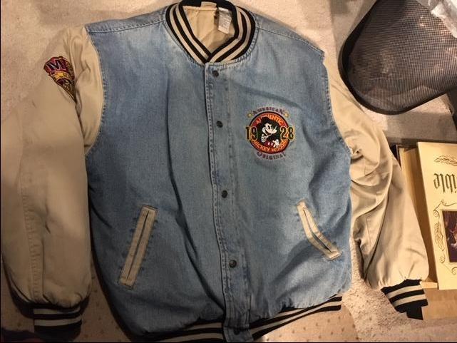 Original Disney Micky Mouse Jean Bomber Jacket Large