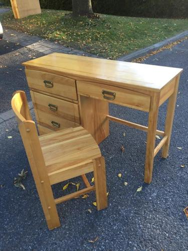 Pine desk and chair, dresser drawers, bookcase