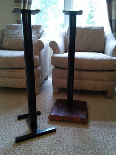 Premier Speaker Stands with your choice of steel or butcher block base
