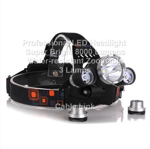 Professional High Capacity LED Headlight 8000 Lumens 3 Lamps