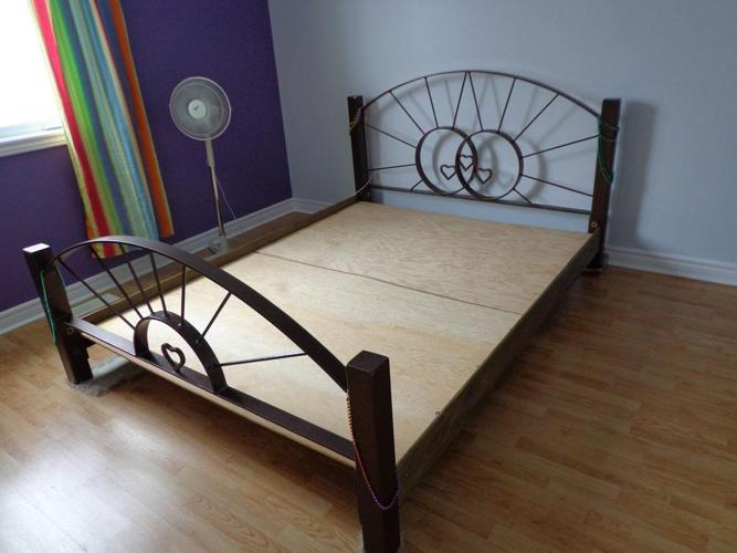 QUEEN BED -  SOLID METAL - ONE OF A KIND