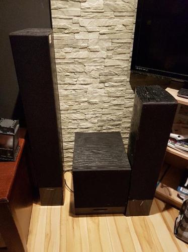 Self powered floor sub and speakers
