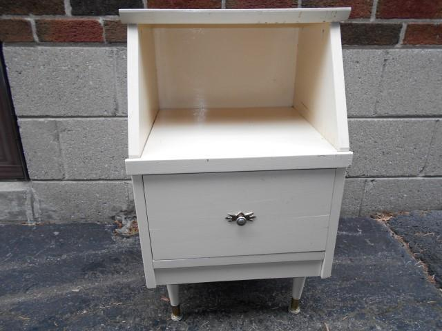 Sturdy Vintage Solid Wood Night Stand Bedside Table