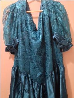 Teal Satin Lace Dress