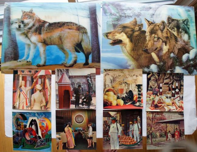 Vintage 3D Lenticular Poster Framed Family of Wolves & UN photos