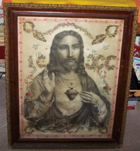 Vintage Jesus Picture In Old Frame 1910