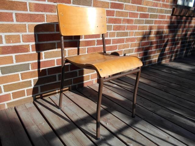 Vintage Mid Century Modern Wood Stacking Chair Adult Size